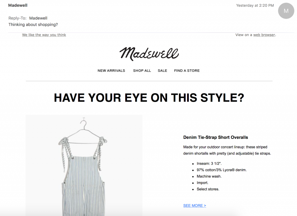 Madewell EmailMarketingExample 1024x747 Avoid These 5 Mistakes to Increase Your Email Engagement