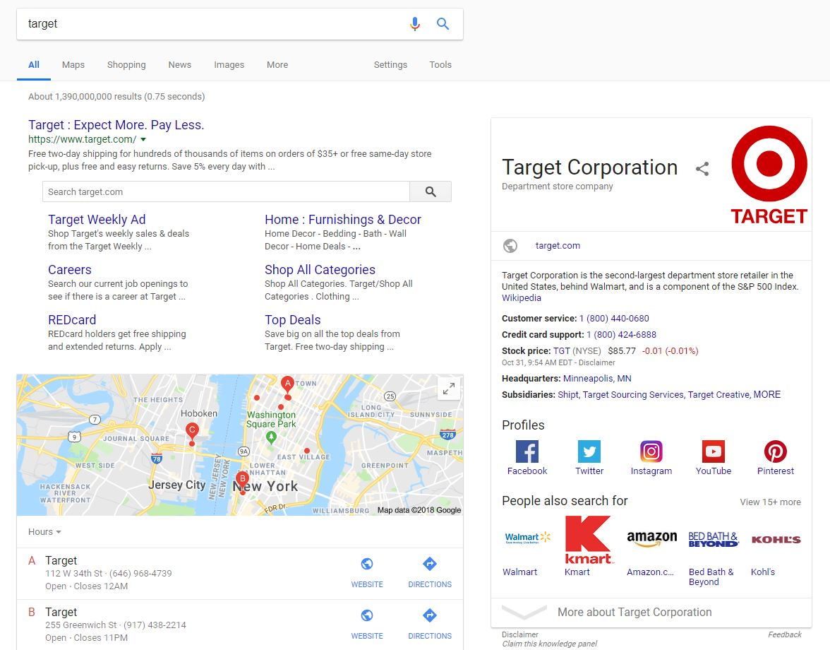 Google Knowledge Panel Example Target - Chainlink Relationship Marketing