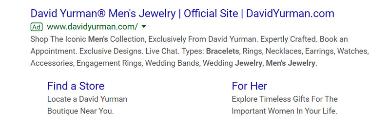 David Yurman Jewelry Google Ad Example - Chainlink Relationship Marketing