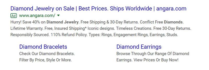 Diamond Jewelry Google Ad Example - Chainlink Relationship Marketing