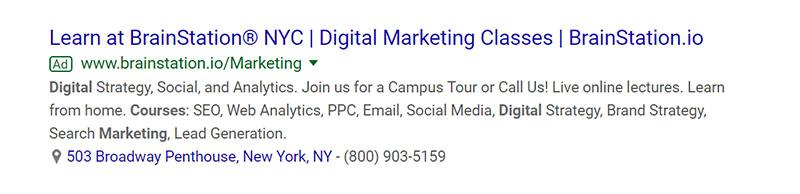 Digital Marketing Classes Education Google Ad Example - Chainlink Relationship Marketing