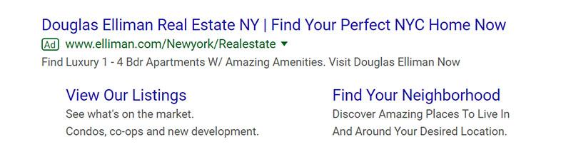 Douglas Elliman Real Estate Google Ad Example - Chainlink Relationship Marketing