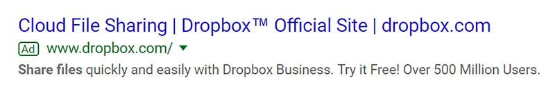 Dropbox SaaS Company Google Ad Example - Chainlink Relationship Marketing