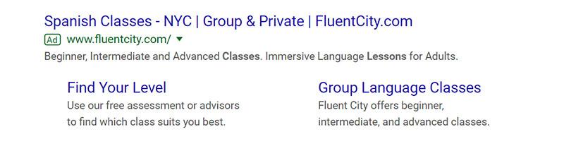 FluentCity Google Ad Example - Chainlink Relationship Marketing