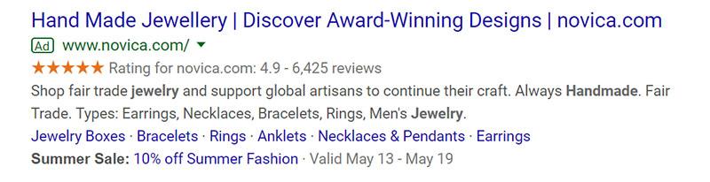 Handmade Jewelry Google Ad Example - Chainlink Relationship Marketing