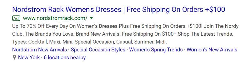 Nordstrom Rack Apparel Google Ad Example - Chainlink Relationship Marketing