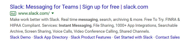 Slack SaaS Company Google Ad Example - Chainlink Relationship Marketing