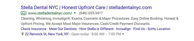 Stella Dental Google Ad Example - Chainlink Relationship Marketing