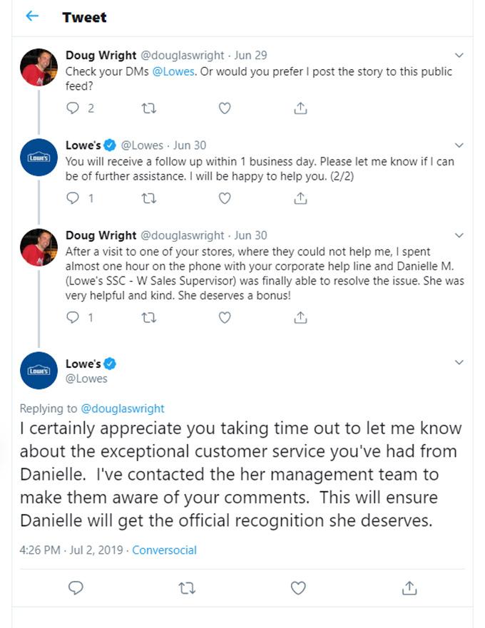 Positive Online Reputation Management Twitter - Lowe's