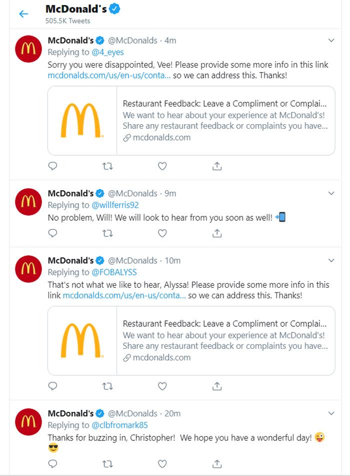 Twitter Customer Support Online Reputation Management - McDonald's
