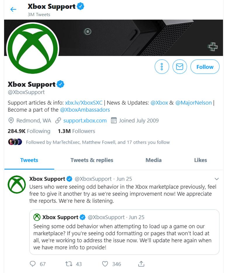 Customer Support Twitter Online Reputation Management - Xbox